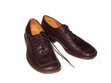 man`s leather shoes poster