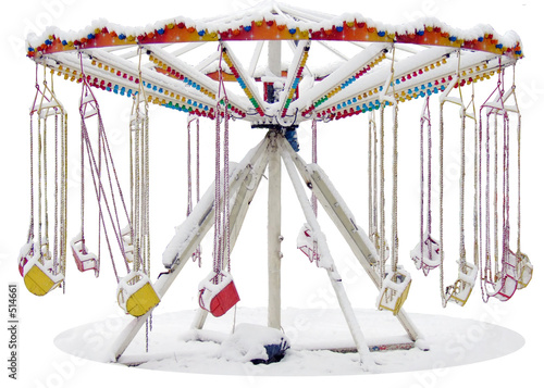 poster of carousel covered in snow
