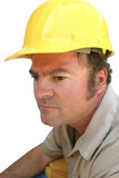serious hard hat worker poster