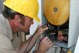 air conditioning repairman working poster