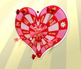 heart darts board poster
