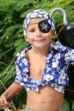 pirate kid smiling poster