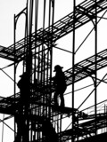 silhouette of construction workers poster