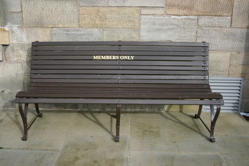 members only bench, st andrews clubhouse