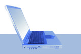 laptop in blue poster