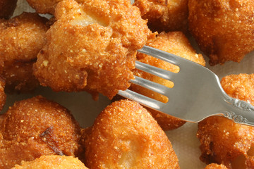 hush puppies with fork