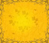 orange floral frame poster