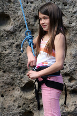 girl climber in pink