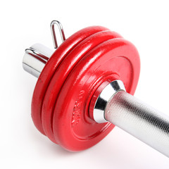 red dumbbell plates