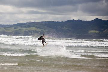 kiteboarding on a rainy day