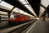 switzerland, zurich: railway station poster