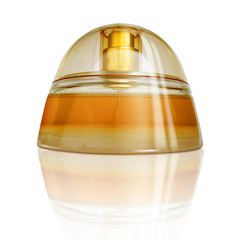 luxurious perfume with reflection, yellow-orange c