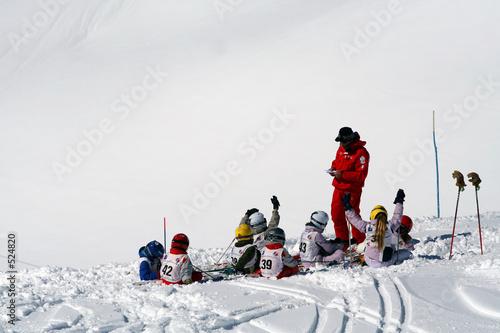 Papiers peints Glisse hiver cours ski enfants