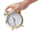 hand holding alarm clock poster