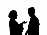 woman and man talking silhouettes poster