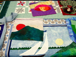 quilting material on display