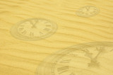 eternity background - clock faces dissolving in sand poster