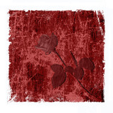 red grungy background with rose poster