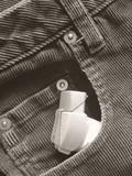 asthma inhaler in front pocket of jeans poster