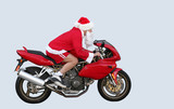 santa claus on a motorcycle in ca poster