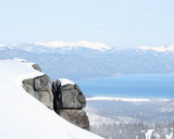 view at lake tahoe, california from the mountains. poster