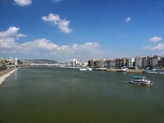 river of danube with elisabeth bridge