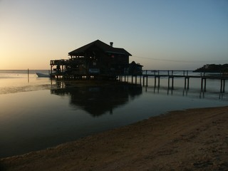 sunset on roatan island