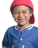 cute happy boy in red baseball cap poster