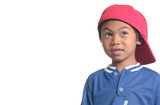 cute young boy in red baseball cap poster