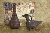 still life with two jugs and ancient map poster