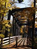 old steel-truss footbridge poster