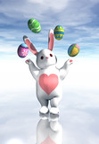 easter bunny juggling poster