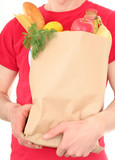 man holding shopping bag poster
