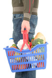 man holding shopping basket poster