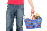 man with shopping basket poster