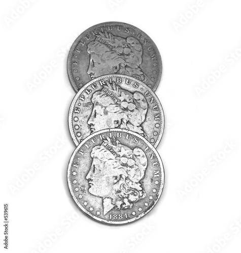 three silver dollars, heads