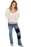casual young woman with leg brace poster