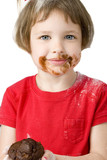 beautiful four year old with chocolate muffin poster