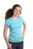 girl blue shirt headphones poster