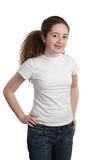teen modeling white shirt poster