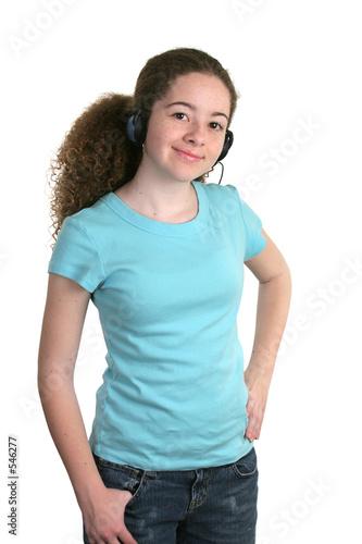 poster of girl blue shirt headphones