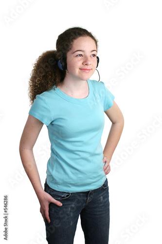 poster of teen blue shirt headphones