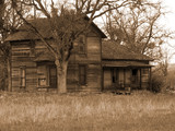 old run-down farm house sepia poster
