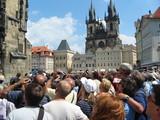 tourist crowd in prague poster