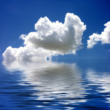 blue sky & clouds reflected in water poster