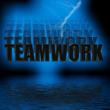 teamwork 3d illustration  reflection poster
