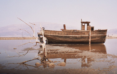 boat on the dead sea