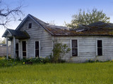 abandoned house with sinking roof poster