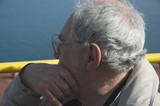 elderly tourist close up in naples poster