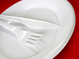 plastic tableware - knife, fork and plate poster